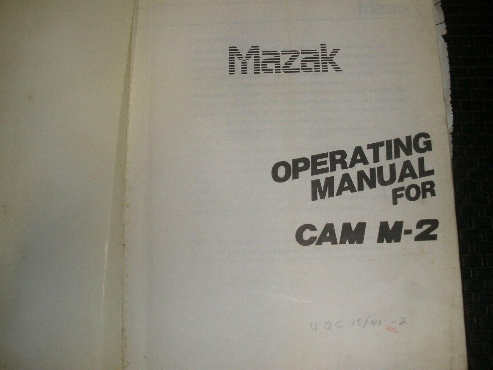 Mazak Operating Manual for CAM M-2 1 of 1Only 1 available ...