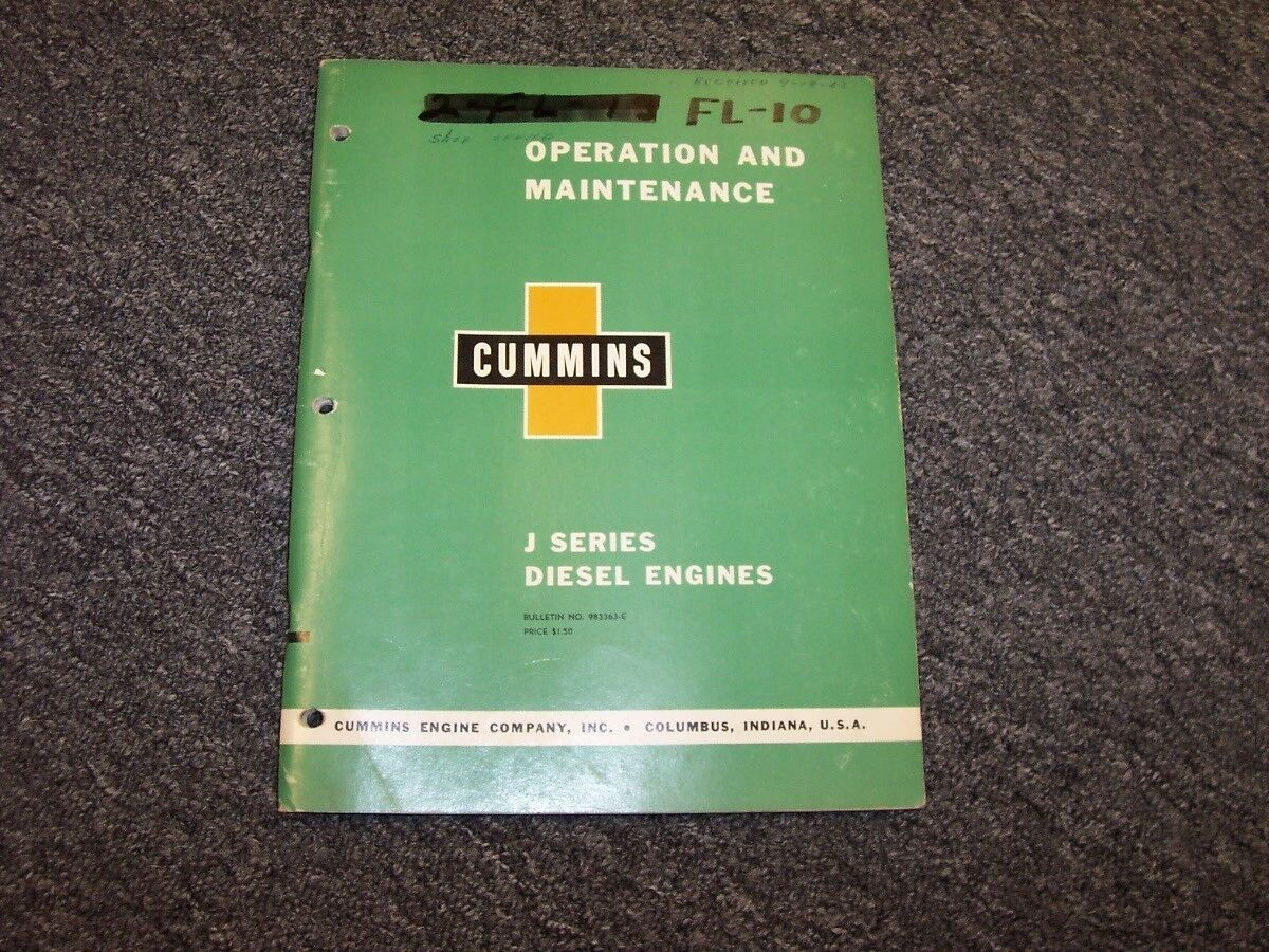 Cummins J Series Diesel Engine Owner's Owner Operator Maintenance Manual 1  of 1Only 1 available See More