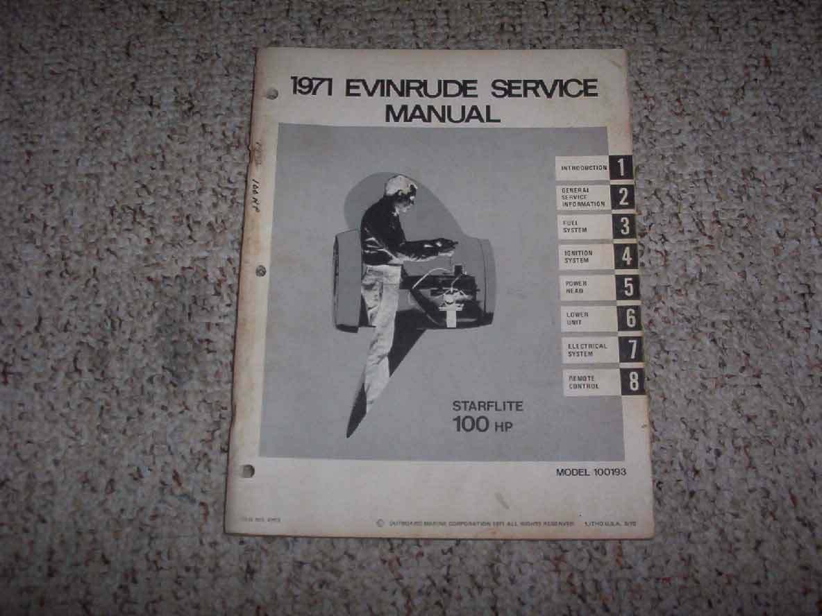 1971 Evinrude Starflite 100 HP Outboard Motor Shop Service Repair Manual 1  of 1Only 1 available ...