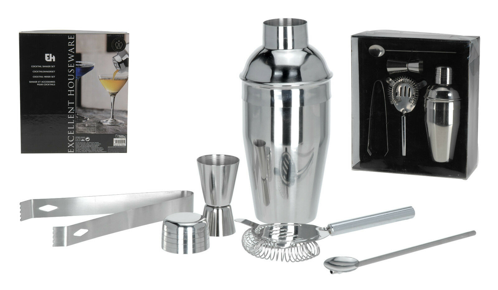 5 piece stainless steel manhattan cocktail shaker set cocktail drinks bar set chf. Black Bedroom Furniture Sets. Home Design Ideas