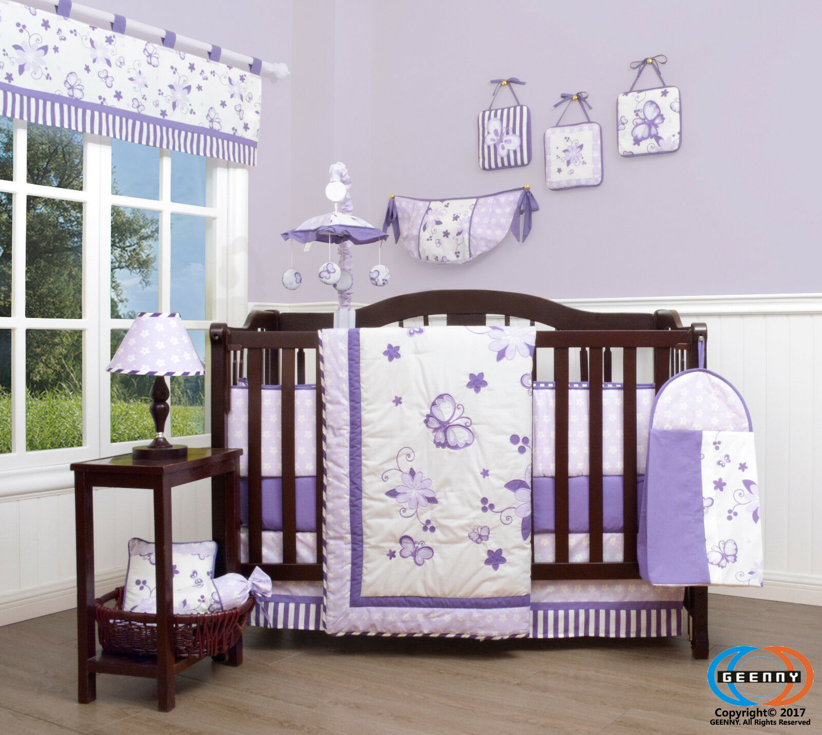 15pcs Lavender Butterfly Baby Crib Bedding Set Including