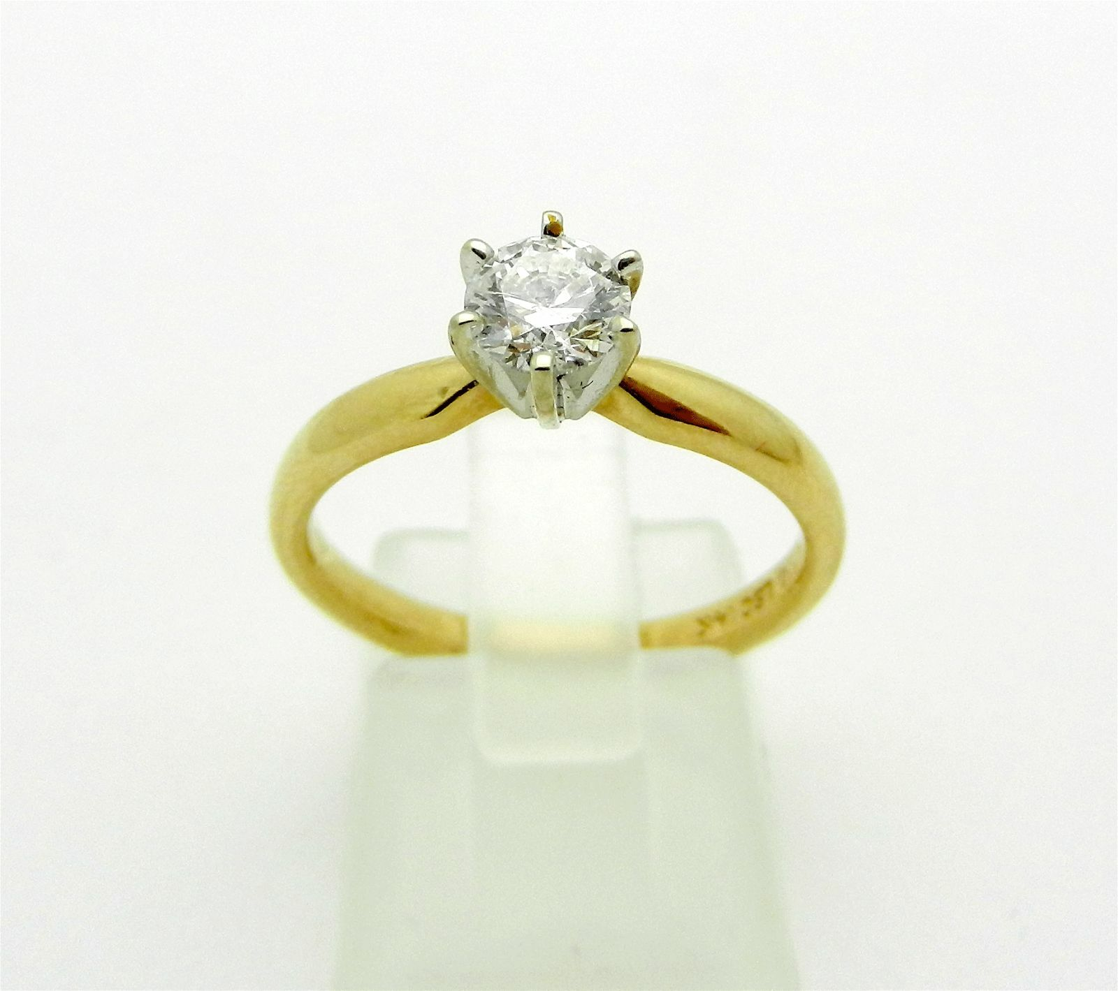 CLASSY 14K YELLOW Gold Solitaire F SI1 Diamond 1 2 0 50ct Engagement