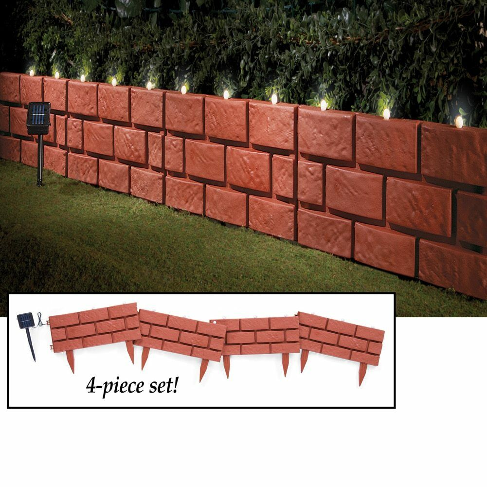 Set of 4 solar powered lighted faux brick garden border for Faux brick edging