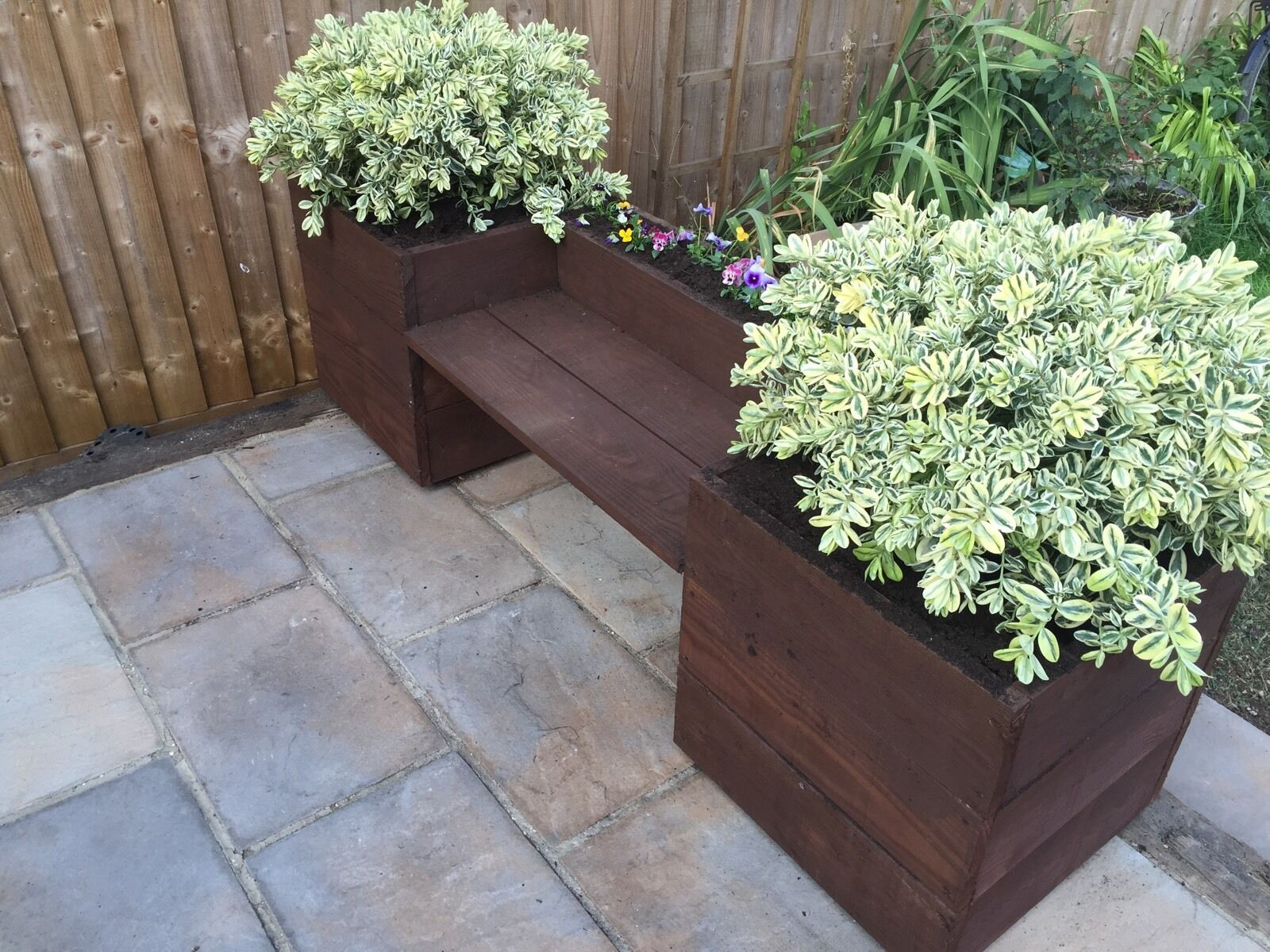 Hand Made Wooden Garden Bench Planter Herb Box Trough