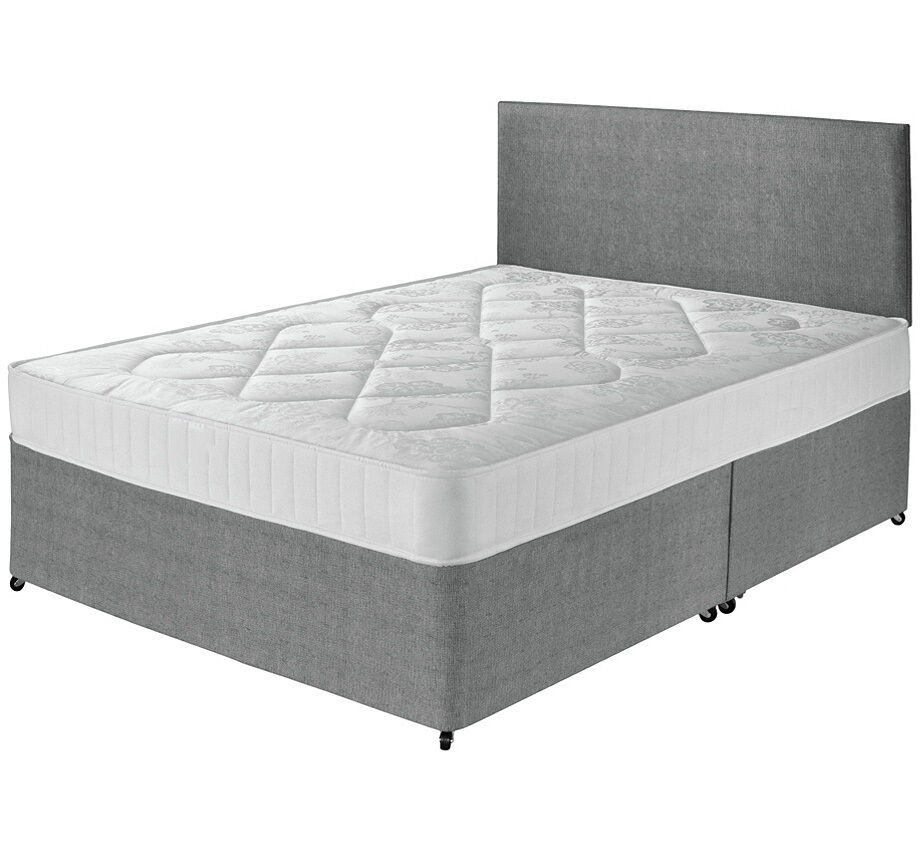 Divan bed set sprung memory mattress headboard 3ft 4ft Three quarter divan bed