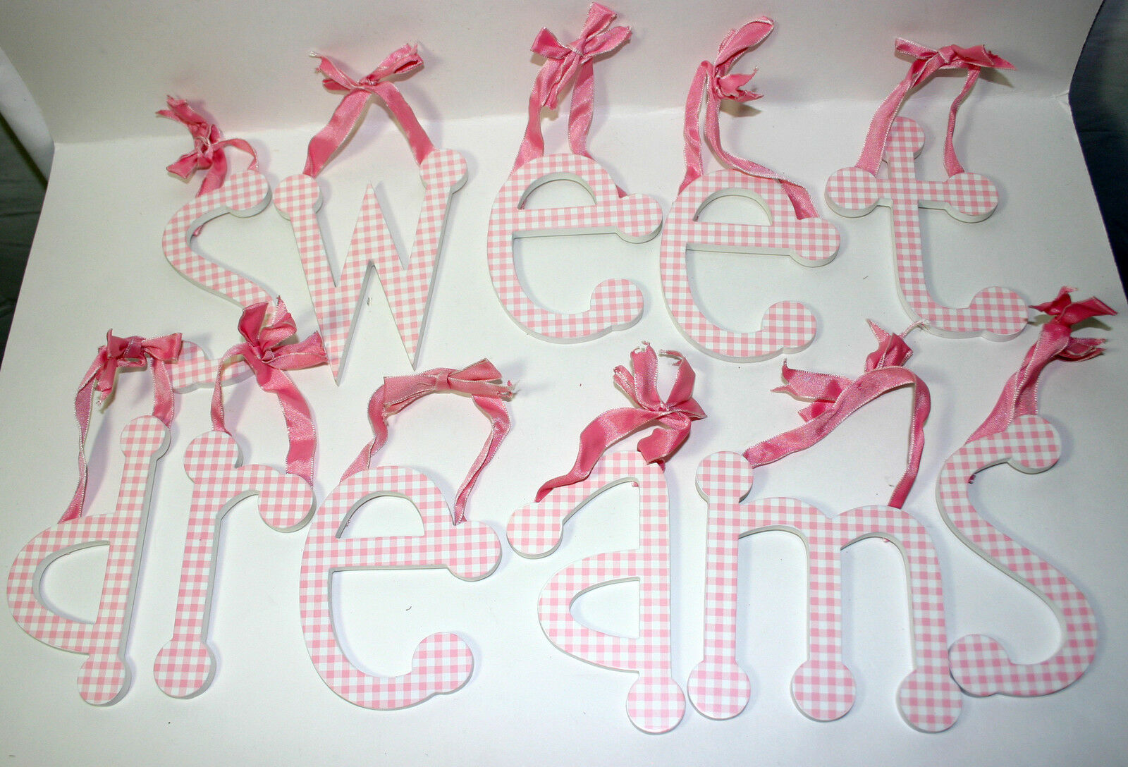 sweet dreams pink gingham individual ribbon hanging wall letters