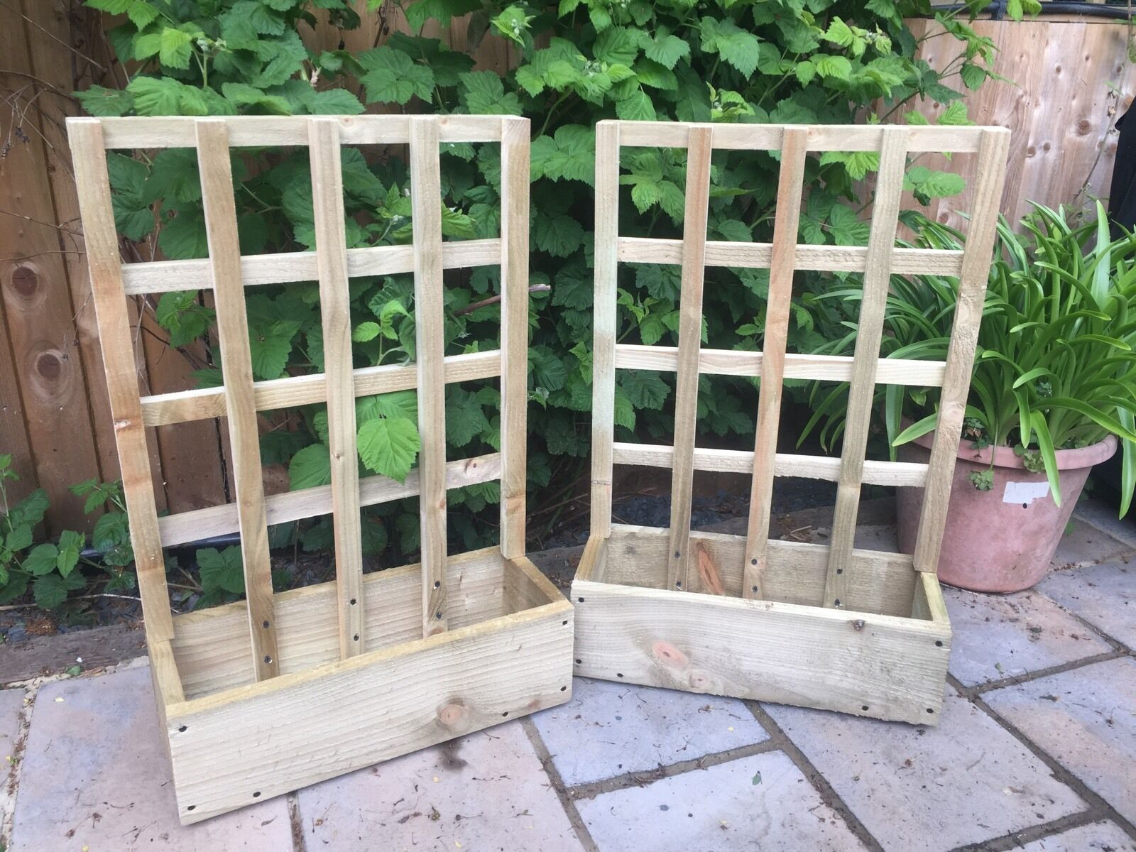 Hand Made Wooden Garden Planter With Trellis Herb Window Box Trough Pot Picclick Uk