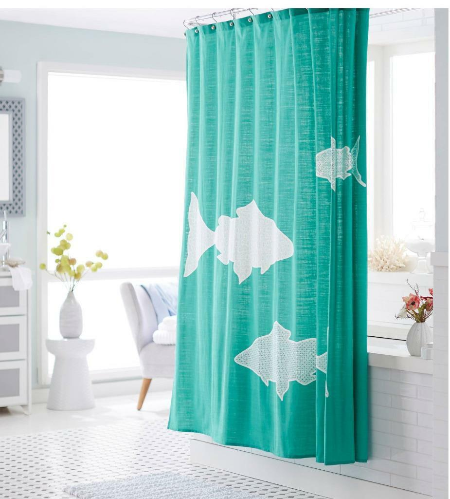 Turquoise Teal Aqua White Fish Sharks Fabric Shower Curtain Aquamarine Tropical 1 Of 9Only 2 Available