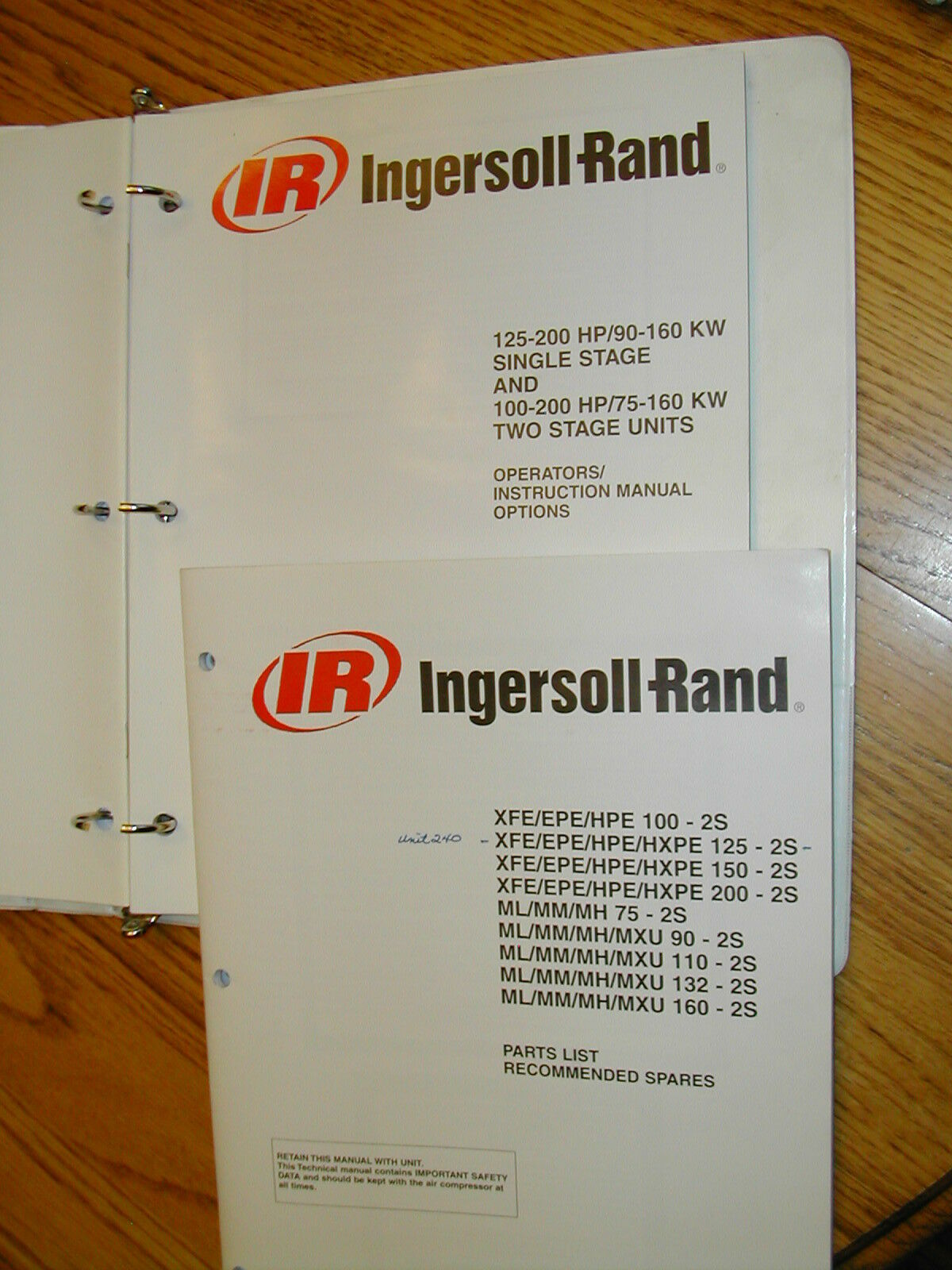 Ingersoll-Rand OPERATION PARTS MAINTENANCE MANUAL AIR COMPRESSOR 100-200  CFM IR 1 of 1FREE Shipping See More