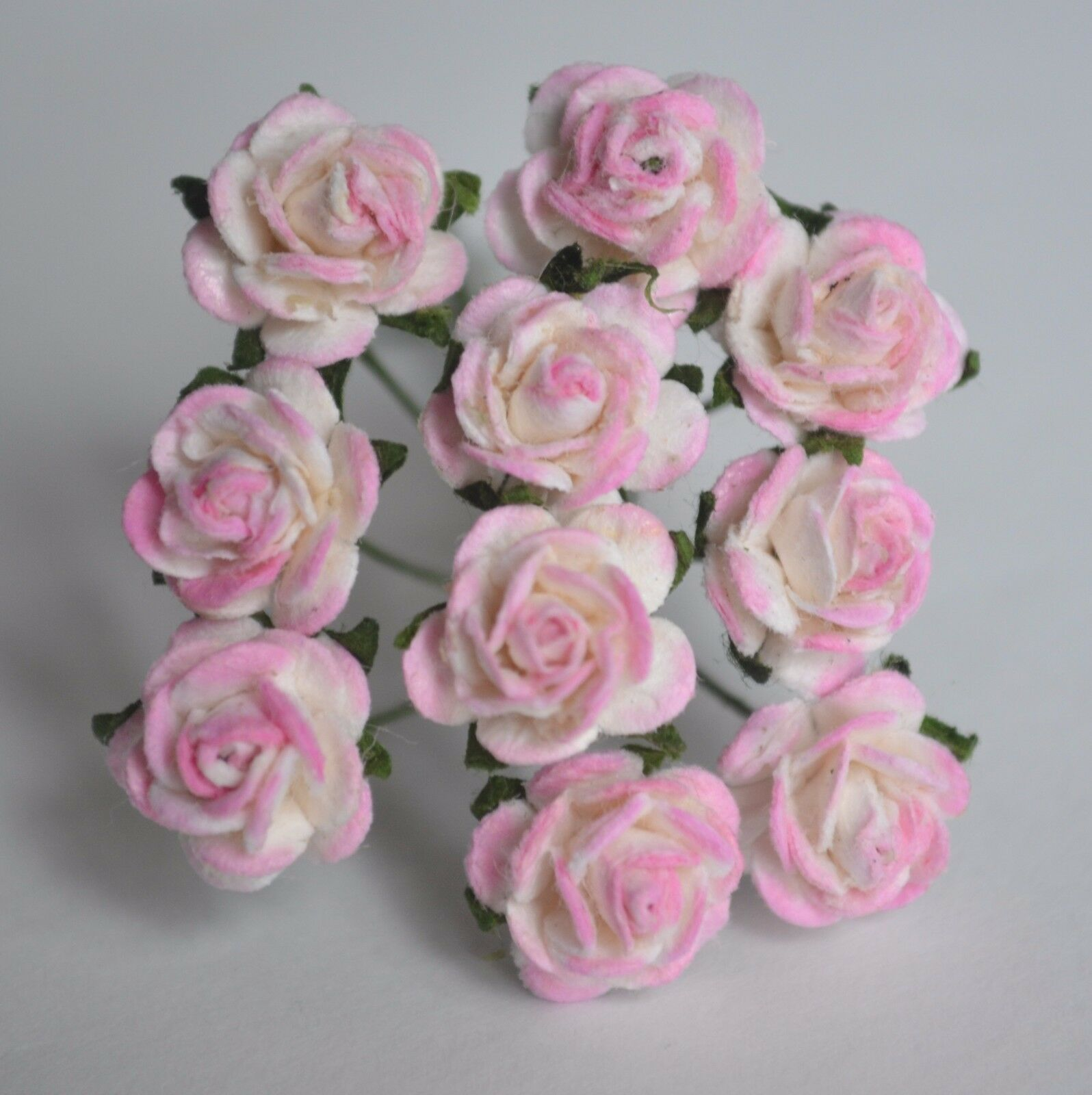 50 Rosy Pink Rose 1cm Mulberry Paper Flowers Wedding Miniature