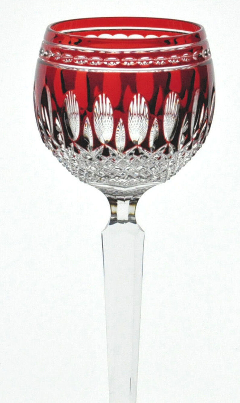 One waterford fine crystal glass ruby red cut to clear clarendon 8 wine hock picclick uk - Waterford colored wine glasses ...