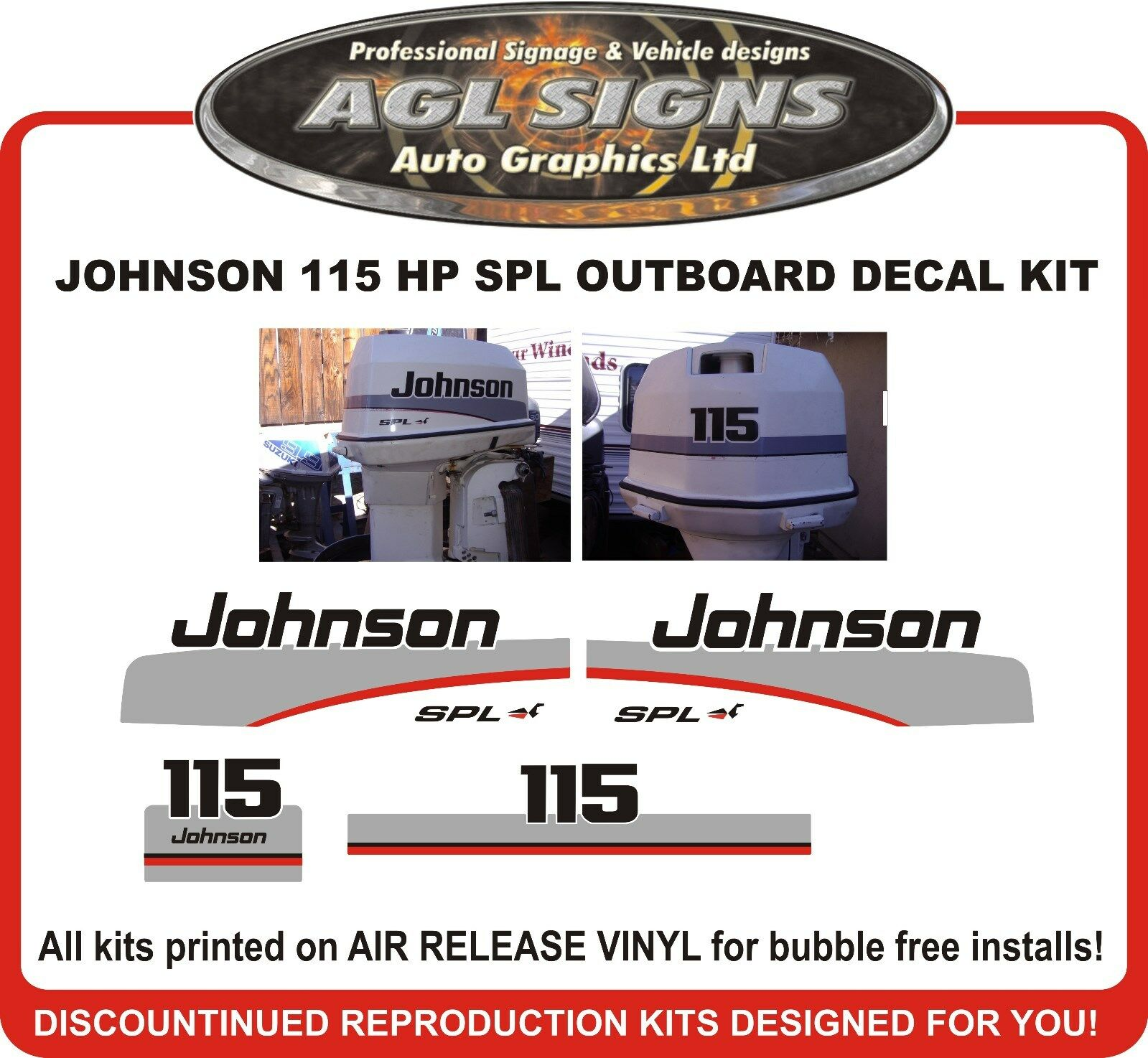 1997 1998 JOHNSON 115 HP SPL Outboard Decal kit reproductions also 90 hp 1  of 1 See More