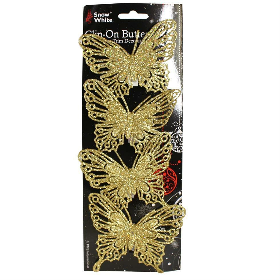 Christmas 4 pack clip on glitter butterfly tree for Christmas decoration packs
