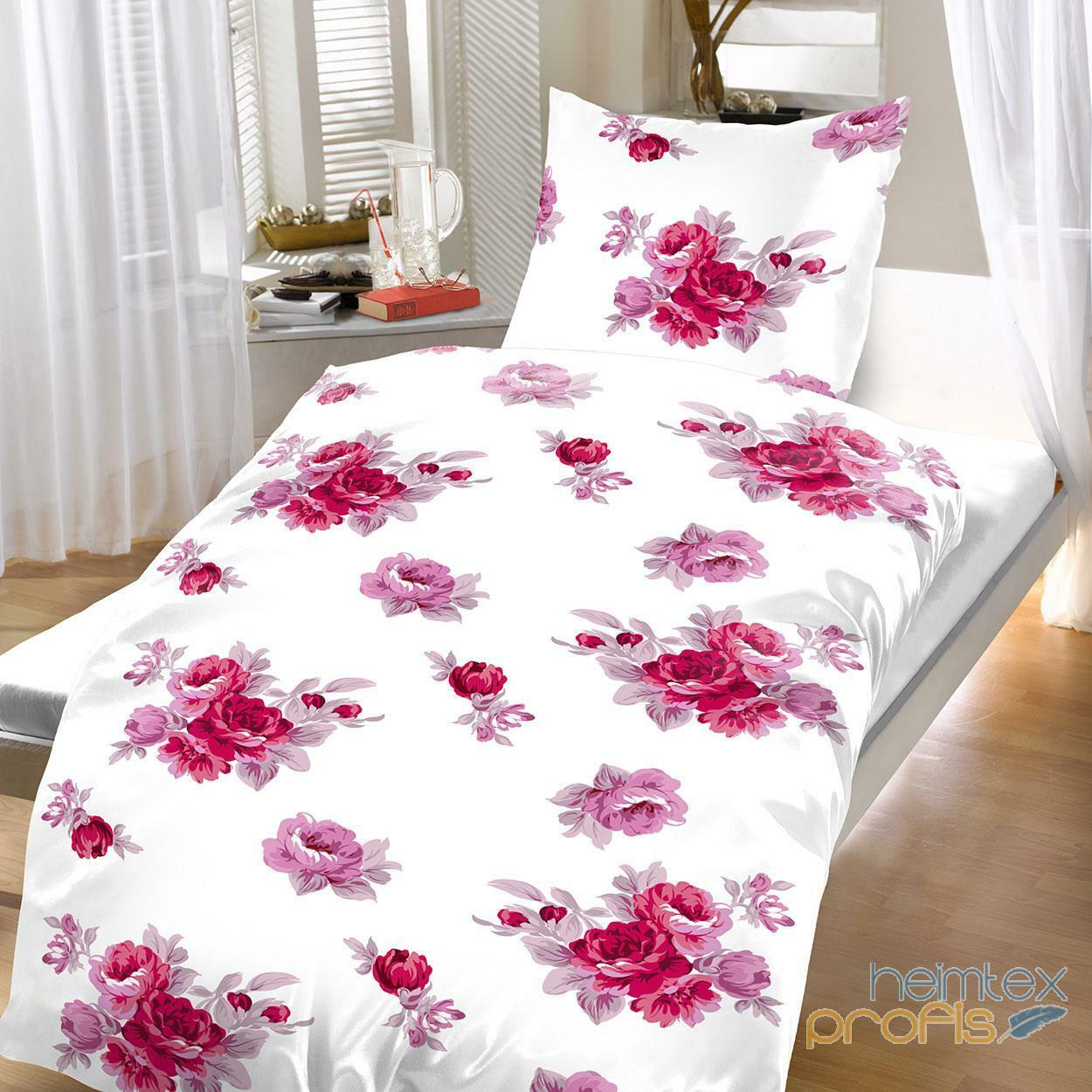 baumwoll bettw sche 135x200 cm 2 teilig floral wei rosa. Black Bedroom Furniture Sets. Home Design Ideas