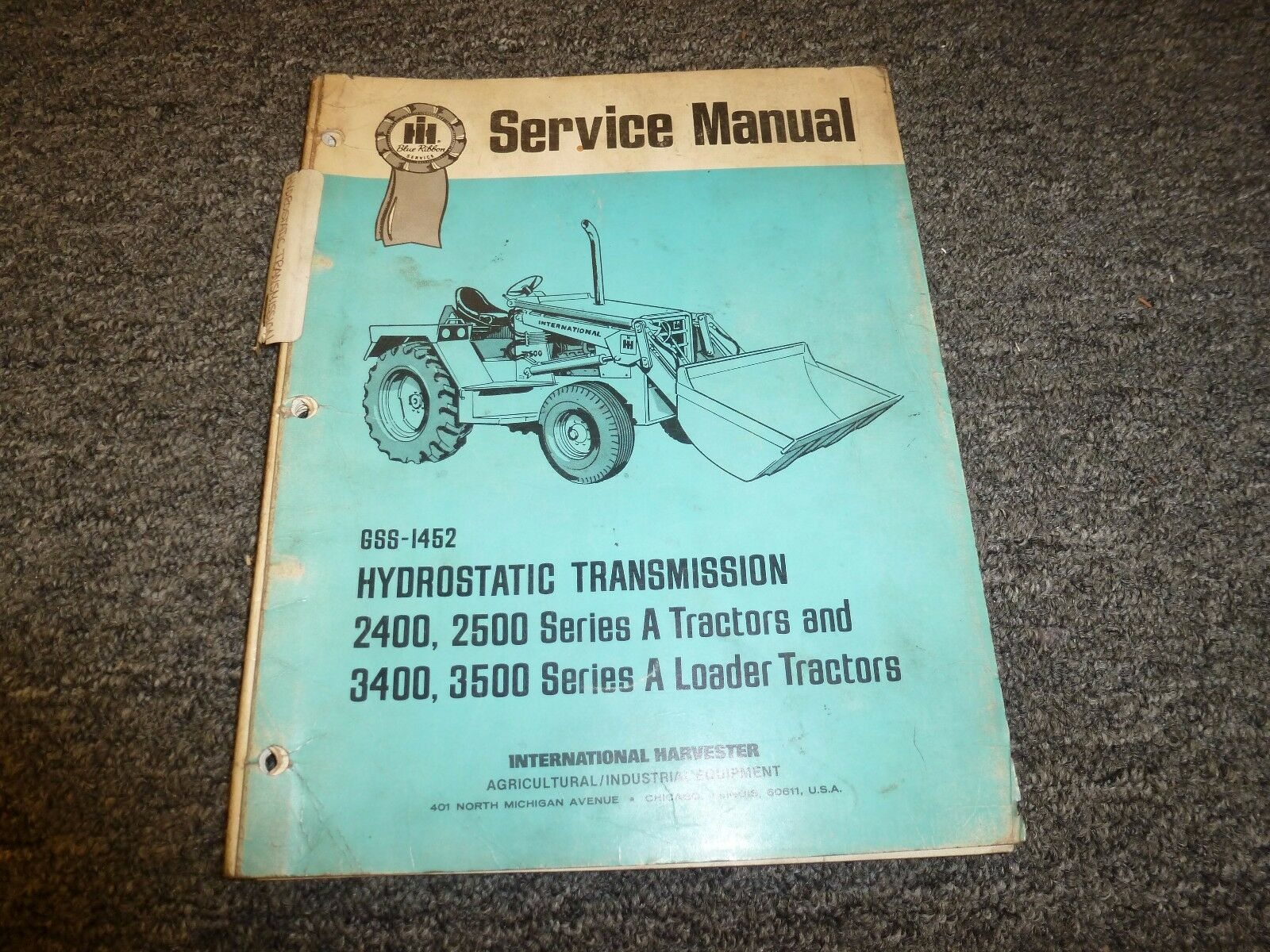 International Harvester IH 2400 2500 Tractor Transmission Service Repair  Manual 1 of 1Only 1 available ...