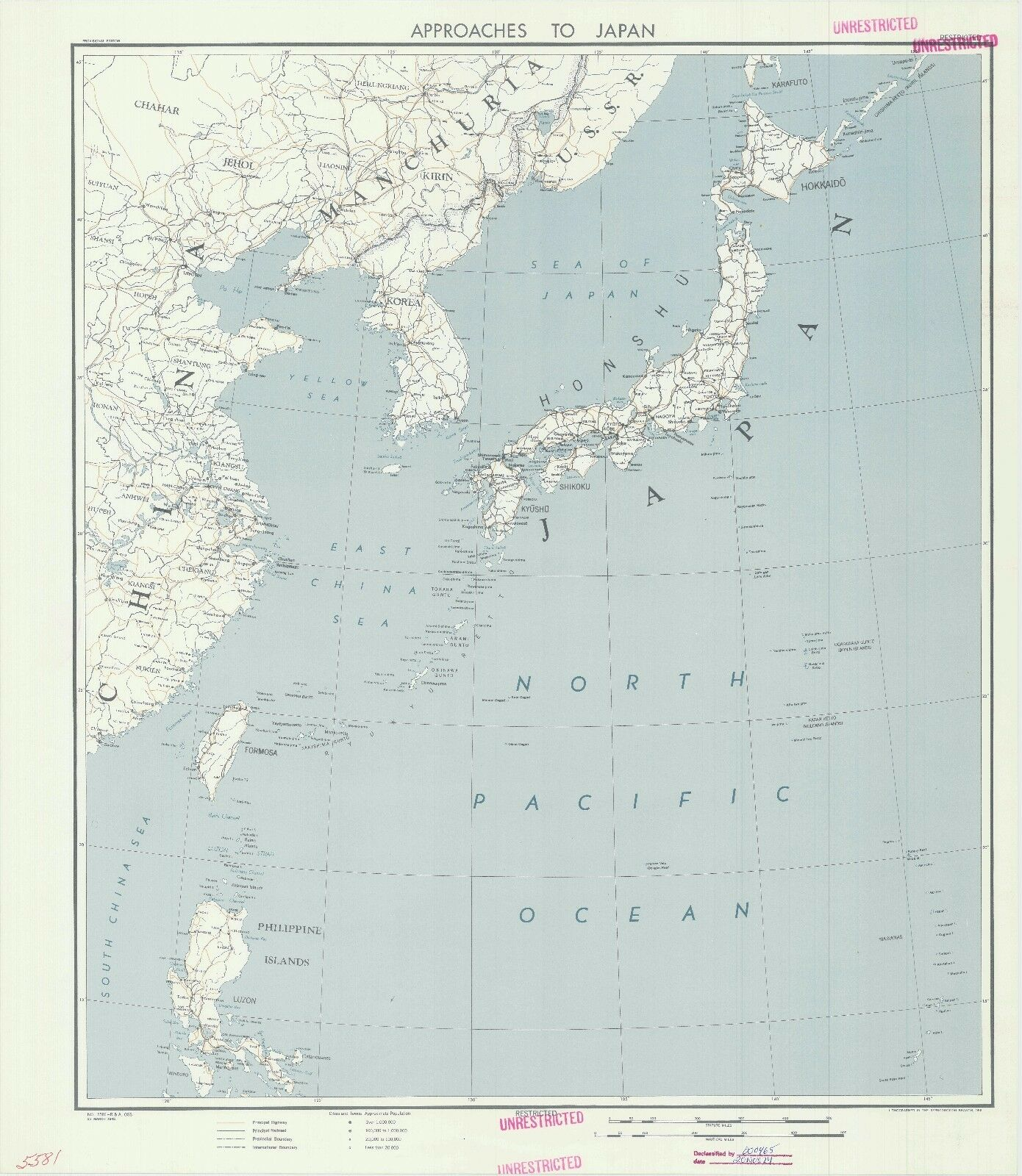 Approaches to japan 1945 cia declassified map world war 2 wwii approaches to japan 1945 cia declassified map world war 2 wwii 1 of 1free shipping gumiabroncs Gallery