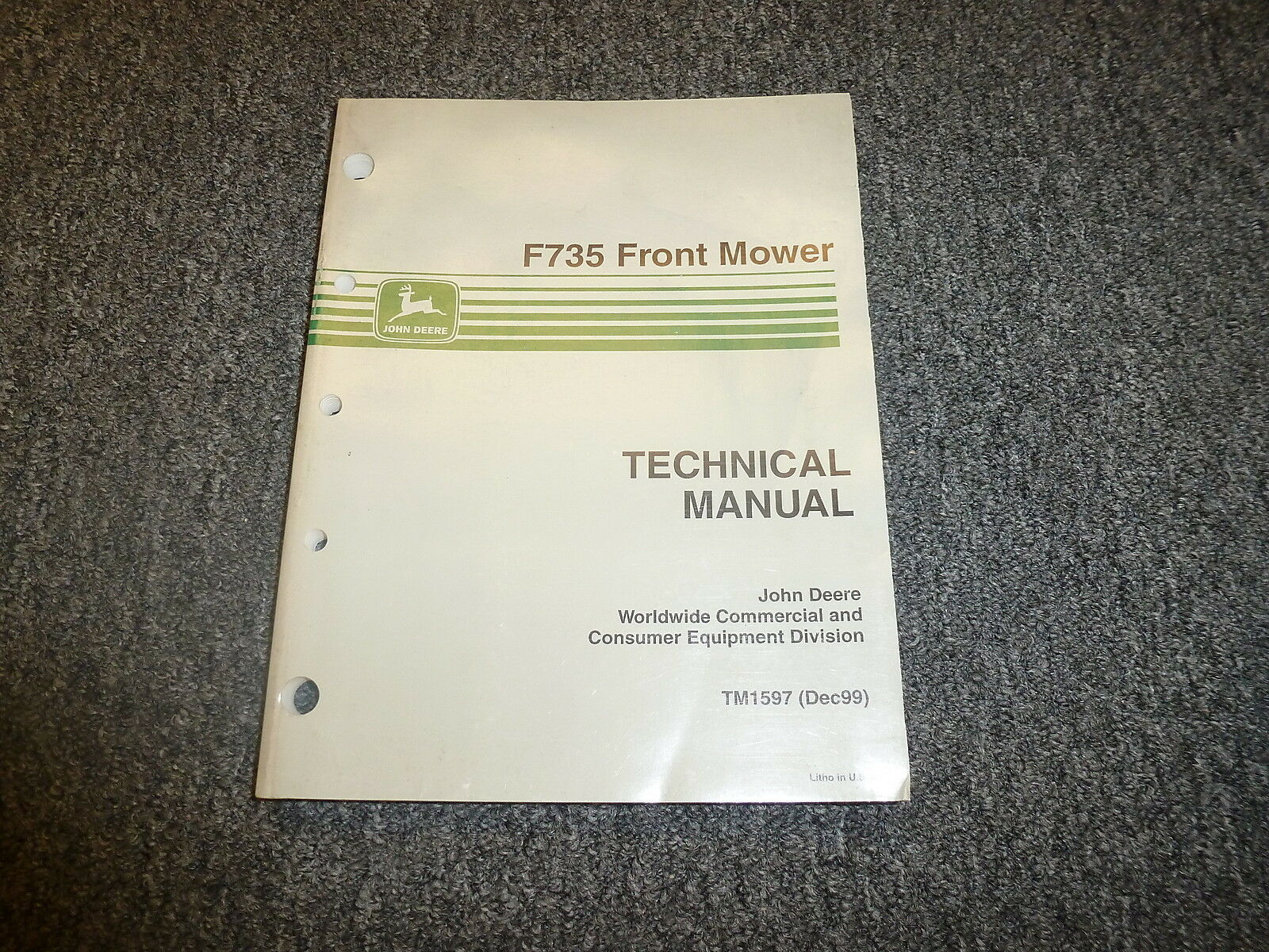 John Deere F735 Front Mower Technical Repair Shop Service Manual TM1597 1  of 1Only 1 available ...