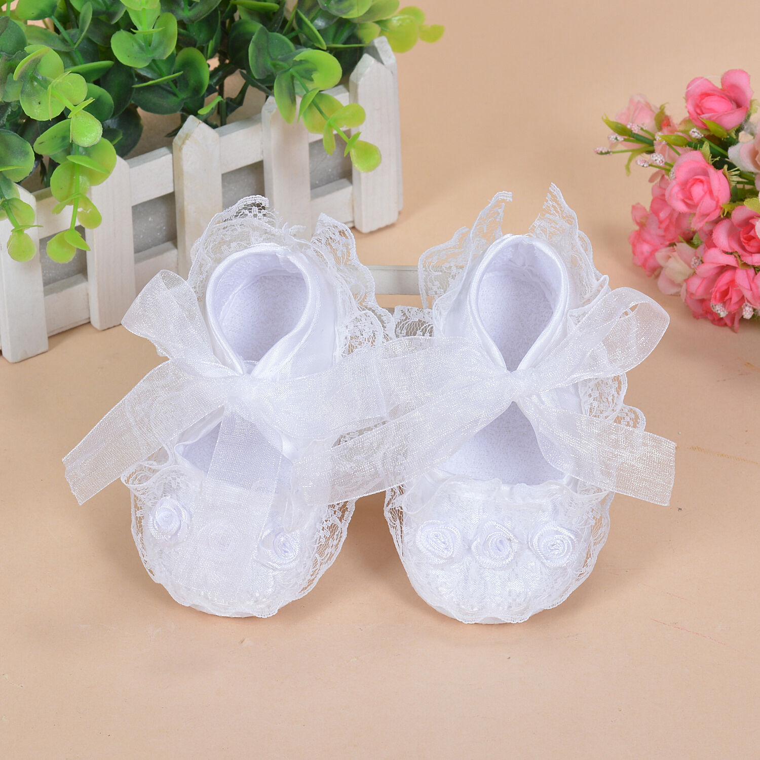 NEW BABY Girls White Satin Christening Party Shoes 6 9