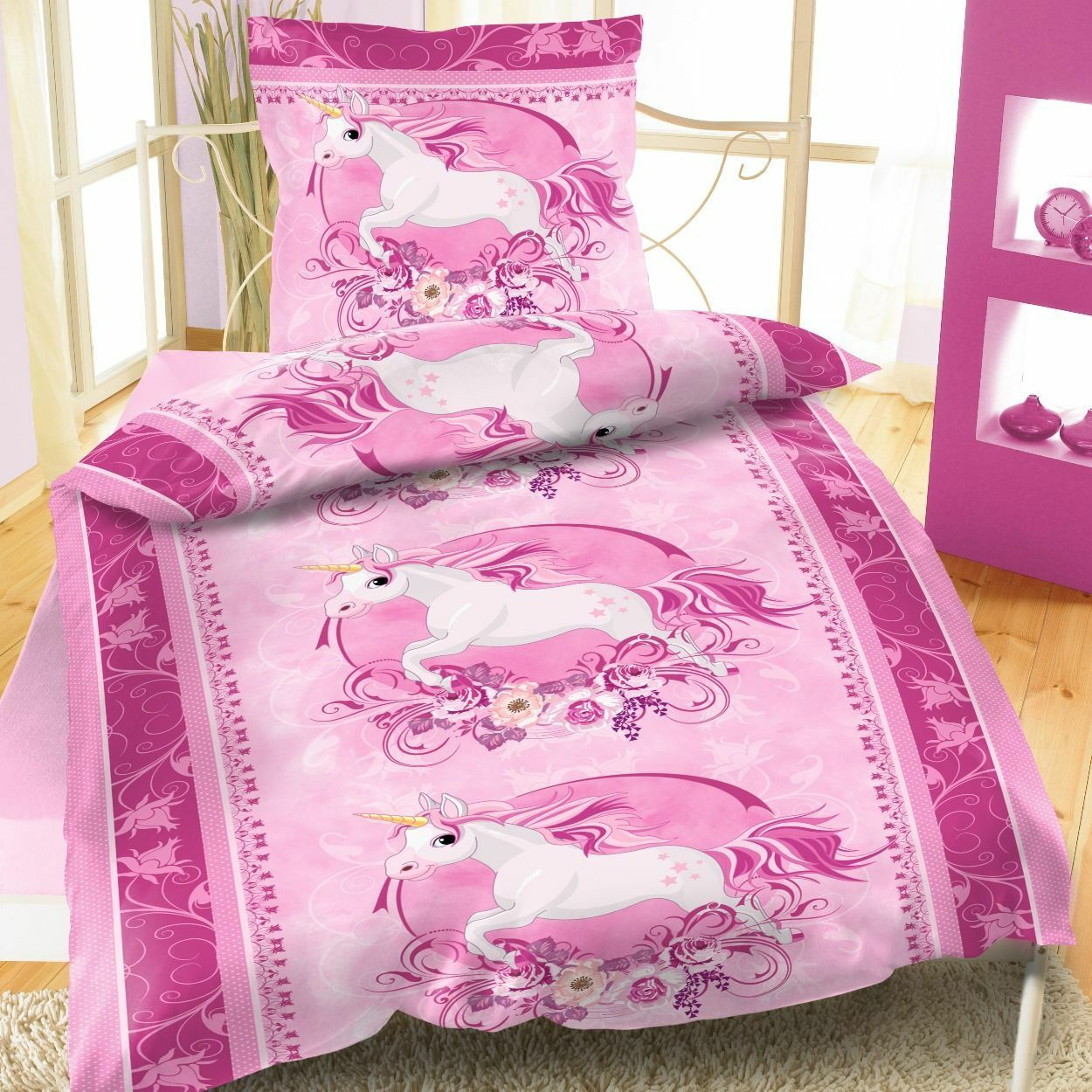 mikrofaser bettw sche 135x200 cm 2 teilig einhorn unicorn pferd rosa eur 9 95 picclick de. Black Bedroom Furniture Sets. Home Design Ideas