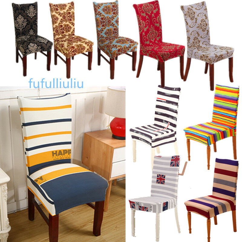 Dining chair covers polyester strech dining room chair for 6 dining room chair covers