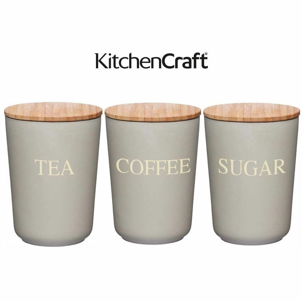 Kitchencraft Natural Elements Bamboo Storage Jar Container Tea Coffee Sugar 1 Of 1free Shipping See More