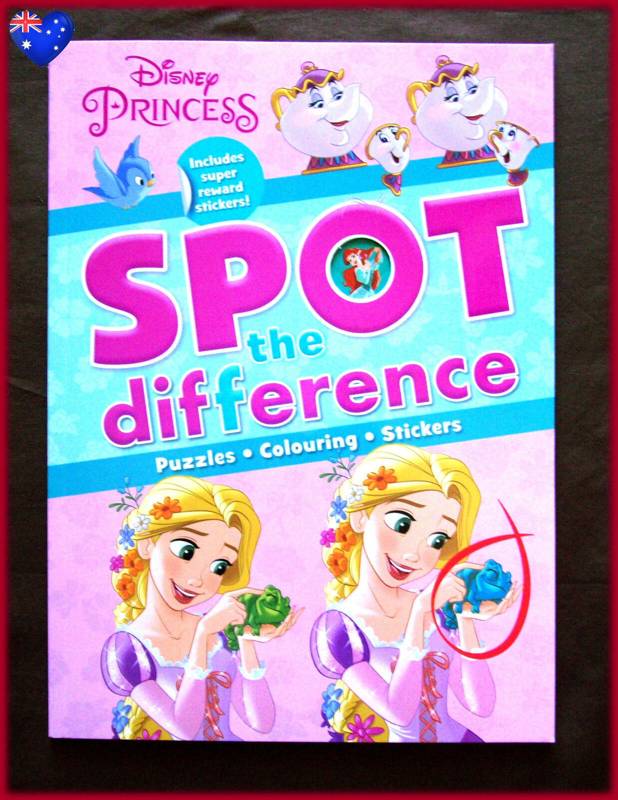 DISNEY PRINCESS SPOT THE DIFFERENCE Puzzle Colouring In Sticker Book ...
