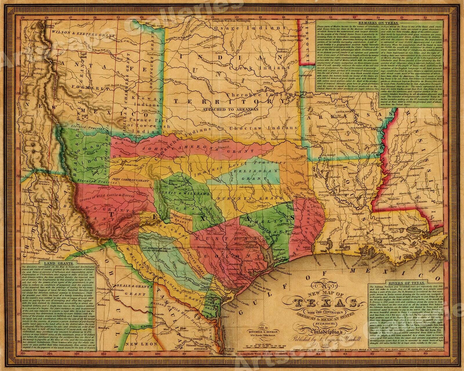 1835 TEXAS, INDIAN Territory & Mexican States Map Wall Map - 20x24 ...