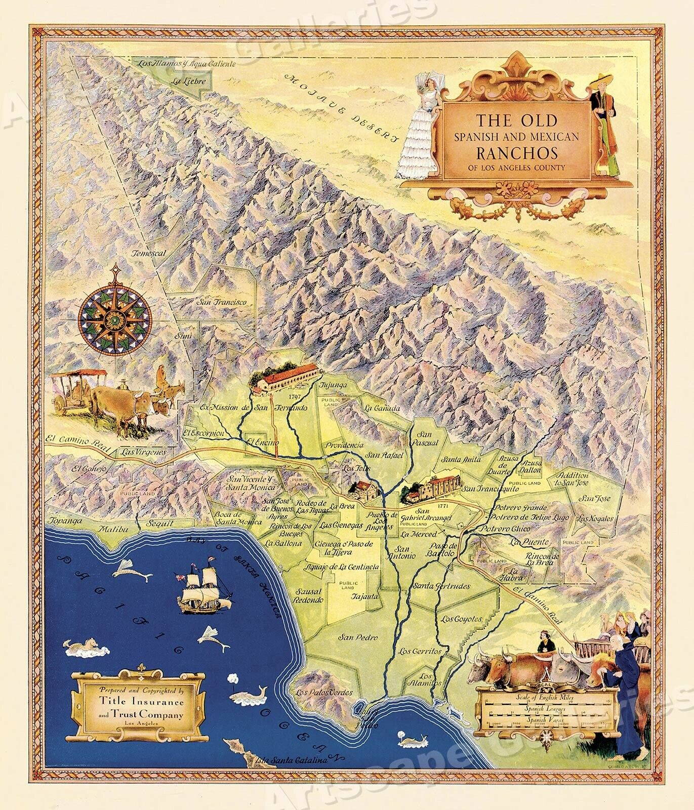 THE OLD SPANISH and Mexican Ranchos Map of Los Angeles County ...