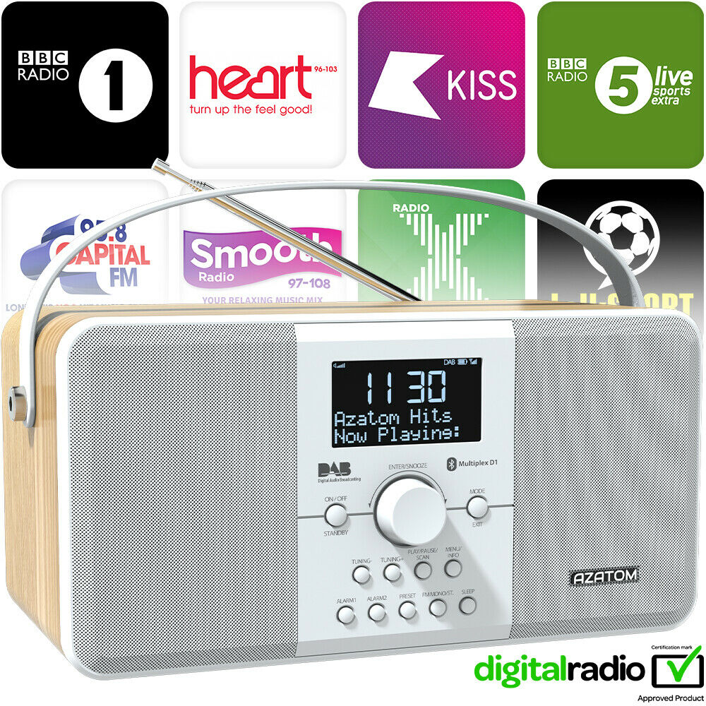 dab radio clock portabal alarm rechargeable bluetooth azatom mulitplex white eur 68 34. Black Bedroom Furniture Sets. Home Design Ideas