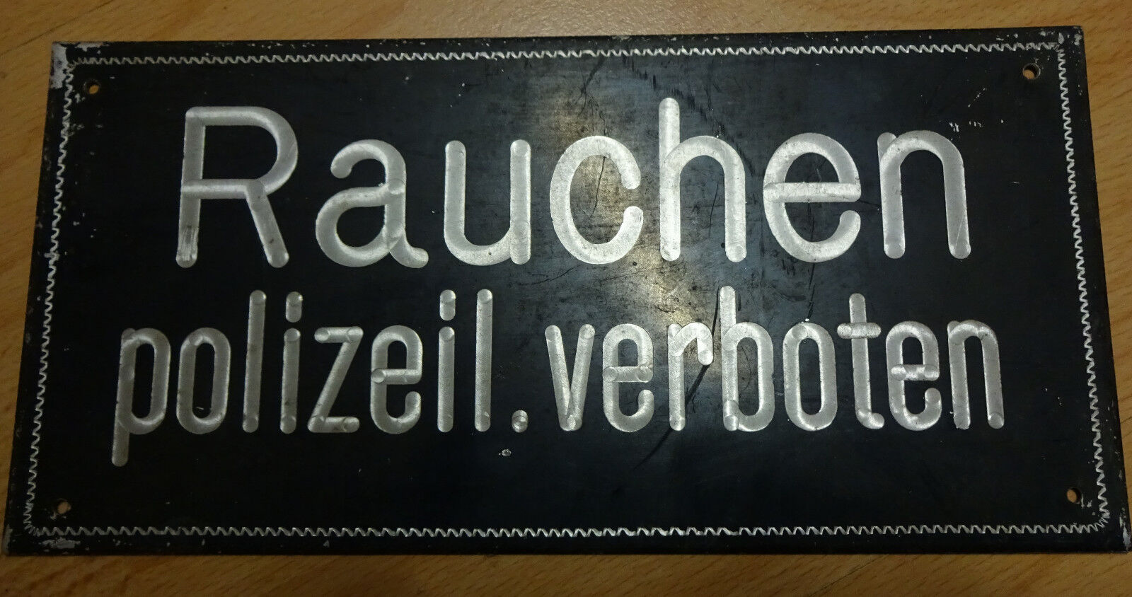 schild rauchen polizeilich verboten antik blechschild uralt kein emailleschild eur 2 00. Black Bedroom Furniture Sets. Home Design Ideas