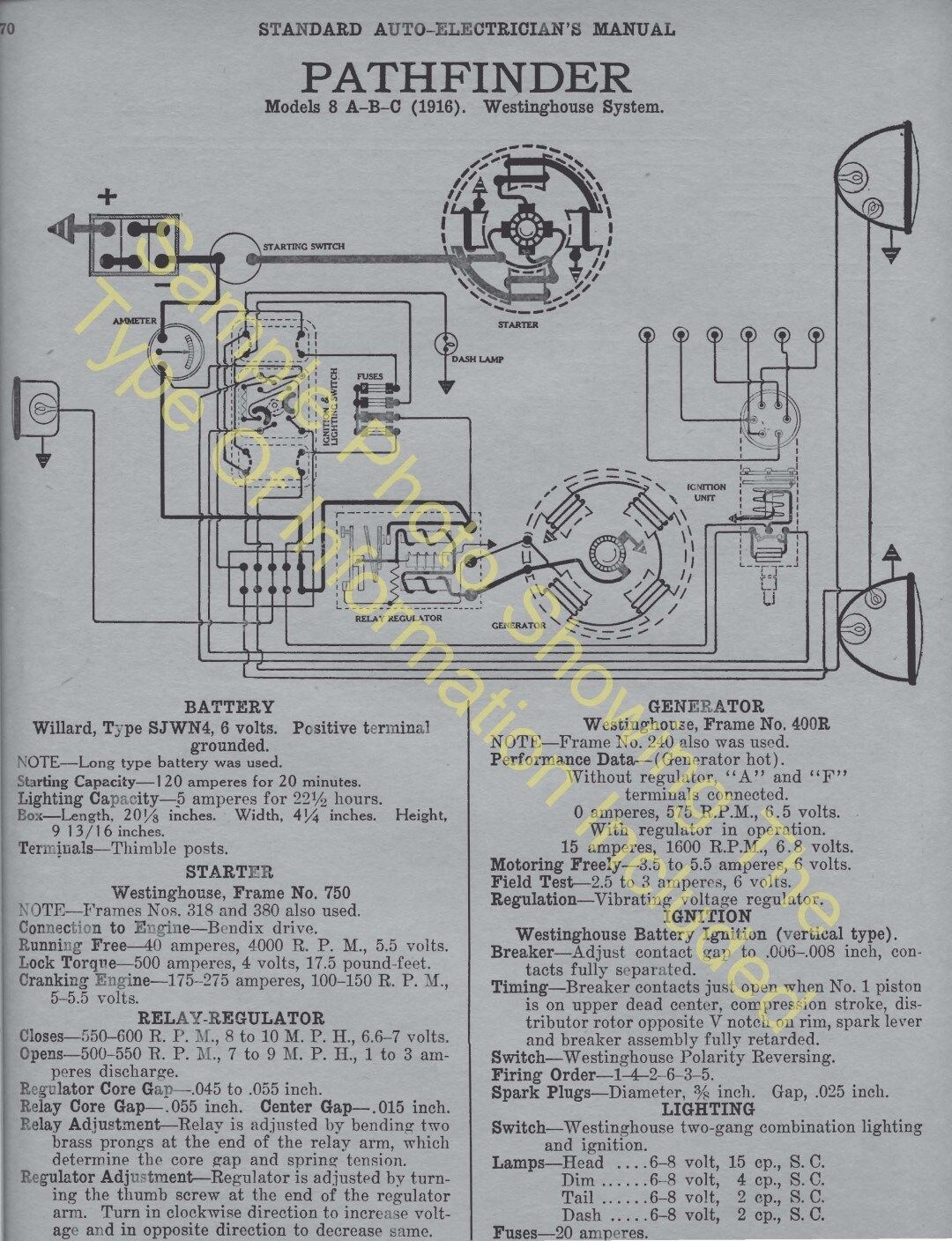 Pierce Arrow Wiring Diagram And Schematics Of Fire Engine Series 4 1916 1918 Car Electric System Specs 397 1 1only
