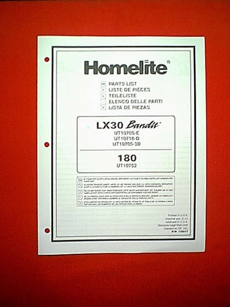 Homelite Chain Saw Models Lx30 Bandit And 180 Parts Manual 1 of 1Only 1  available ...