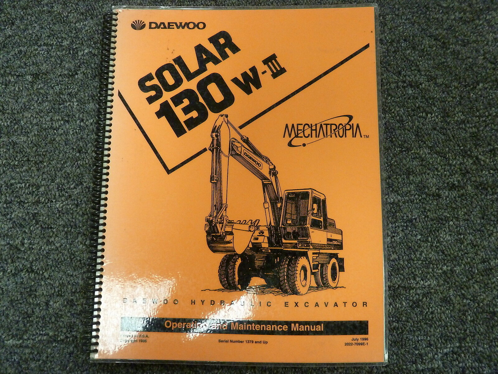 Daewoo Solar 130W-III Hydraulic Excavator Owner Operator Maintenance Manual  1 of 1Only 1 available See More