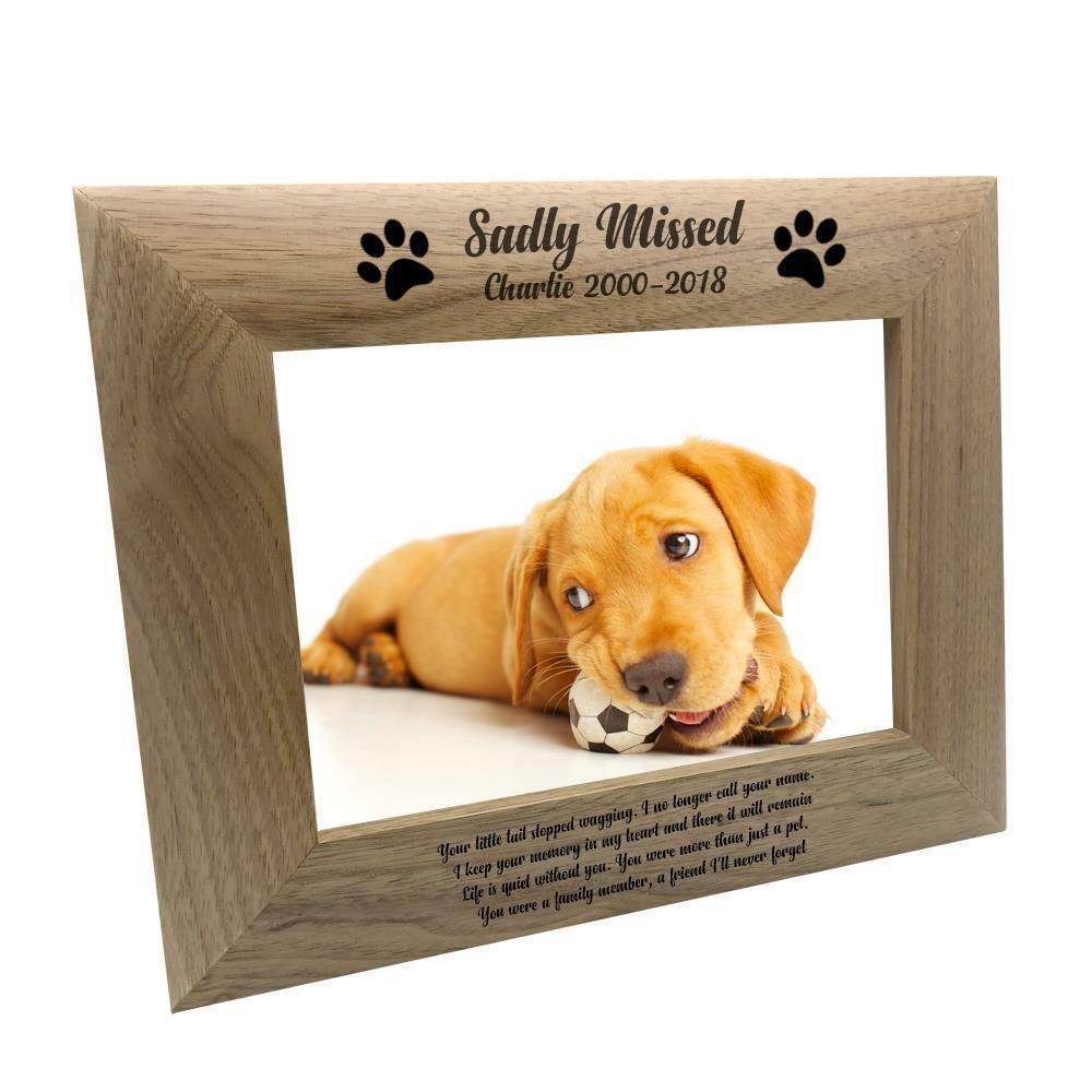 PERSONALISED SADLY MISSED Dog Remembrance Memorial Wooden Photo ...