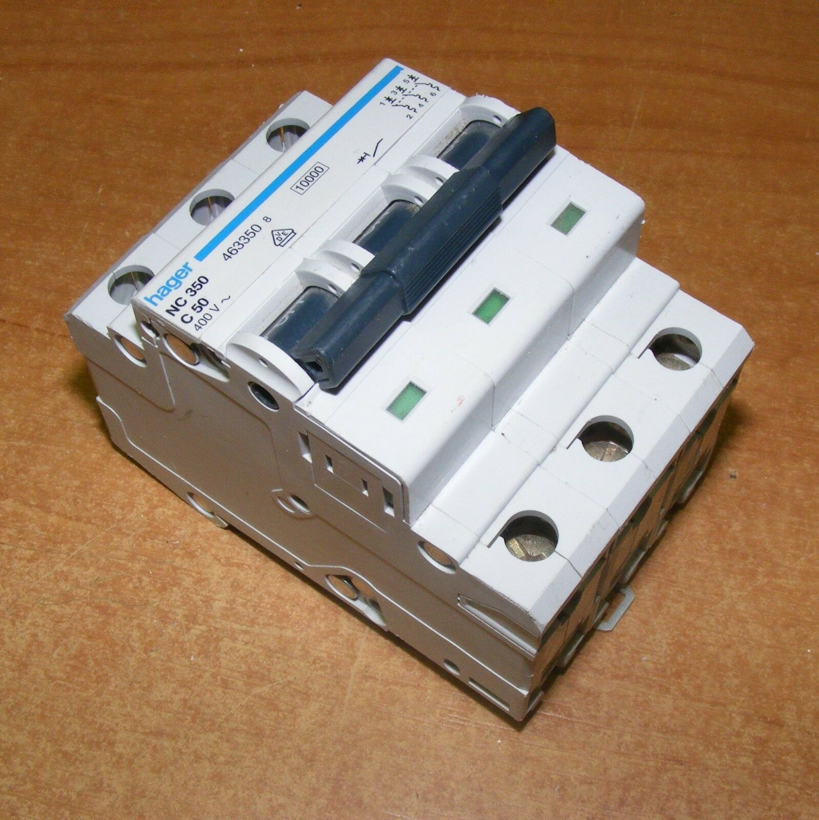 Hager Nc 350 C 50 Circuit Breaker Type Triple Pole 3 Phase Amp Off Miniature Module View Din 1 Of 4only Available See More