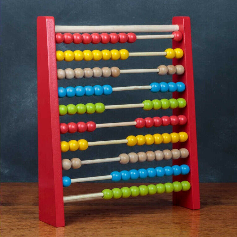 ABACUS BEAD EDUCATION Toy Maths Kids Traditional Wood Learn Aid ...