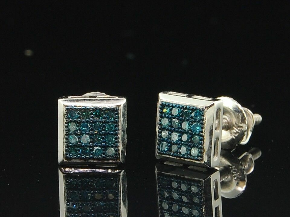 Blue Diamond Earrings Square Studs 1 Of 6only 0 Available
