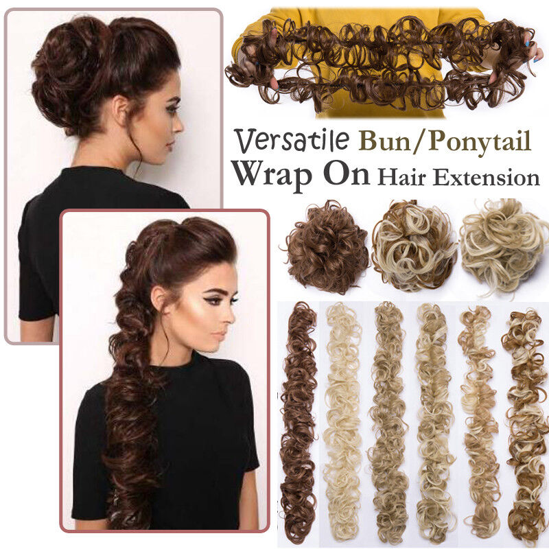 Large Wrap On Messy Bun Curly Ponytail Hair Piece Chignon Updo Hair