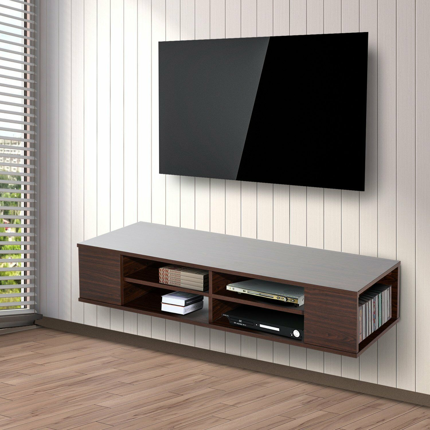 homcom floating tv stand cabinet wall mounted entertainment center console picclick. Black Bedroom Furniture Sets. Home Design Ideas