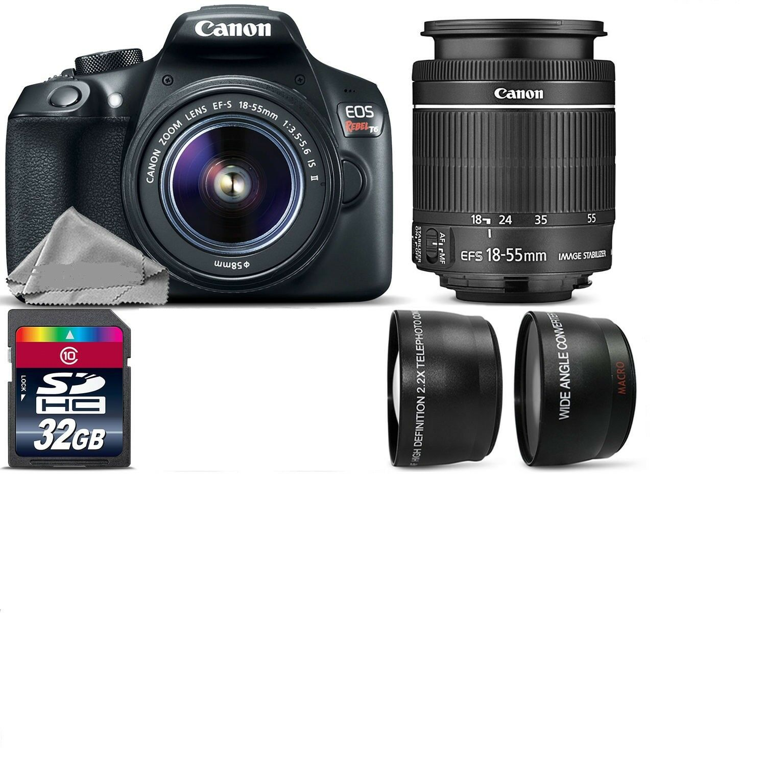 Canon Eos Rebel T6 Slr Camera 1300d 18 55mm Is 500mm 4 Lens Kit Kamera 55 Iii 1 Of 1free Shipping