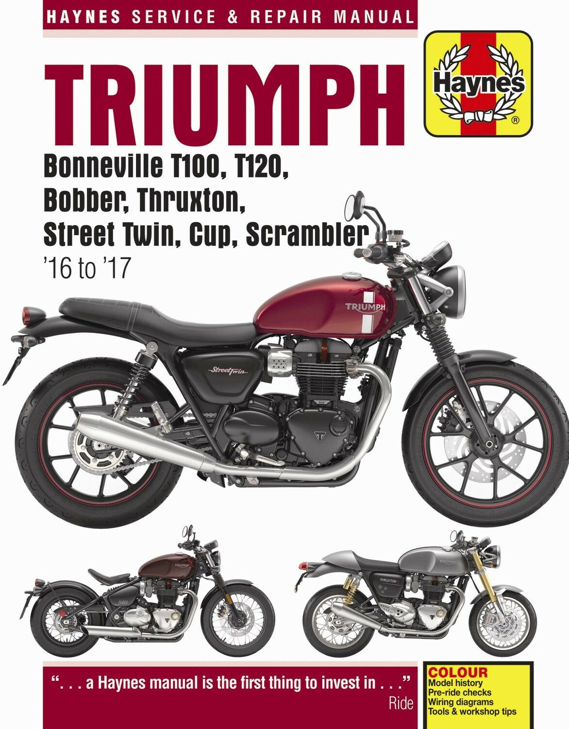 2016 2017 Triumph Bonneville T100 T120 Bobber Thruxton Street Twin Softail Wiring Diagram Repair Manual 1 Of 3only 2 Available See More