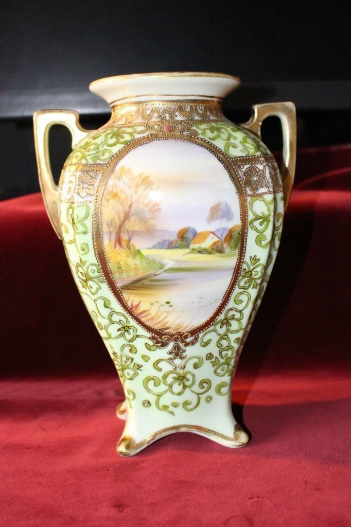 Gorgeous Antique Signed Nippon Hand Painted Vase Moriage Gold