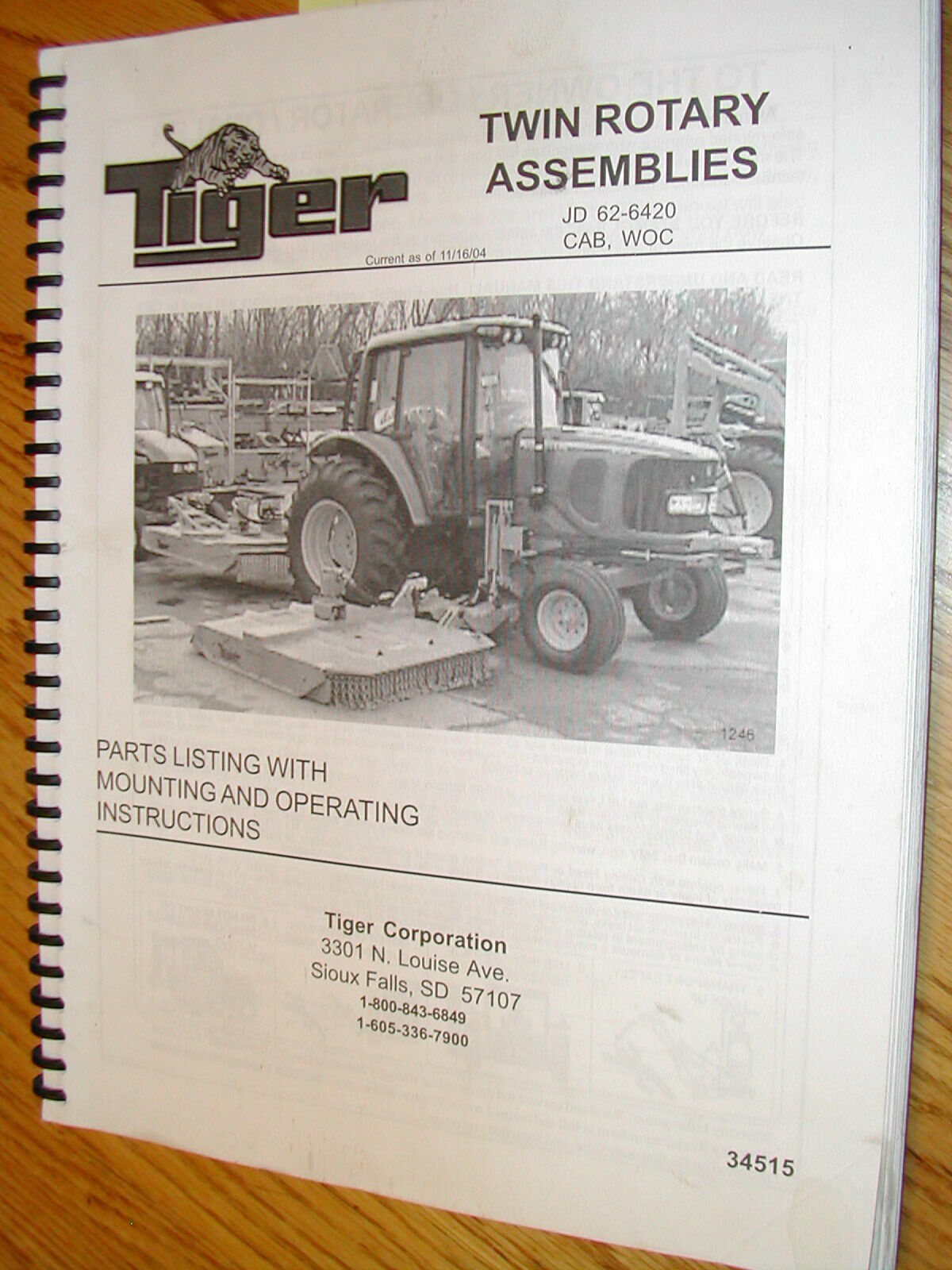 Tiger TWIN ROTARY MOWER OPERATION MAINTENANCE MANUAL PARTS BOOK JD 6220 &  6420
