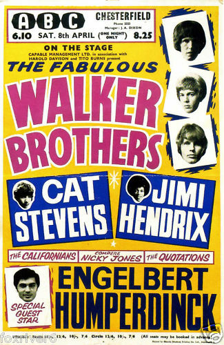 Chesterfield (ABC) : 8 avril 1967  JIMI-HENDRIX-WALKER-BROTHERS-Concert-Poster-ABC