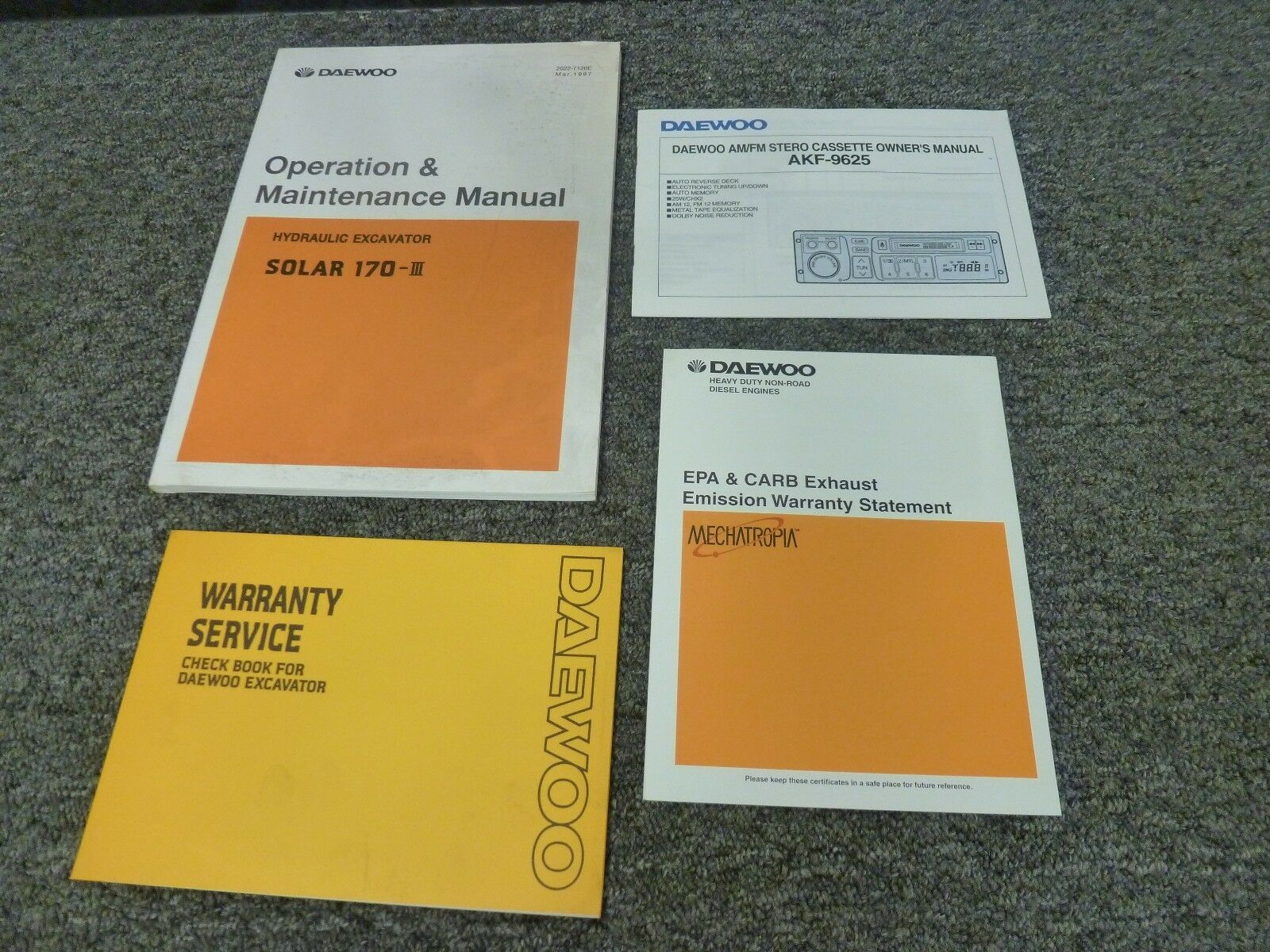 Daewoo Solar 170-III Hydraulic Excavator Owner Operator Maintenance Manual  1 of 1Only 1 available ...