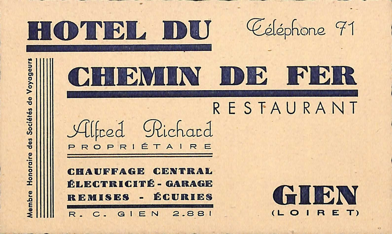 Gien 45 Carte De Visite Hotel Du Chemin Fer Alfred Richard Proprietaire 1 Sur 2Seulement Disponible