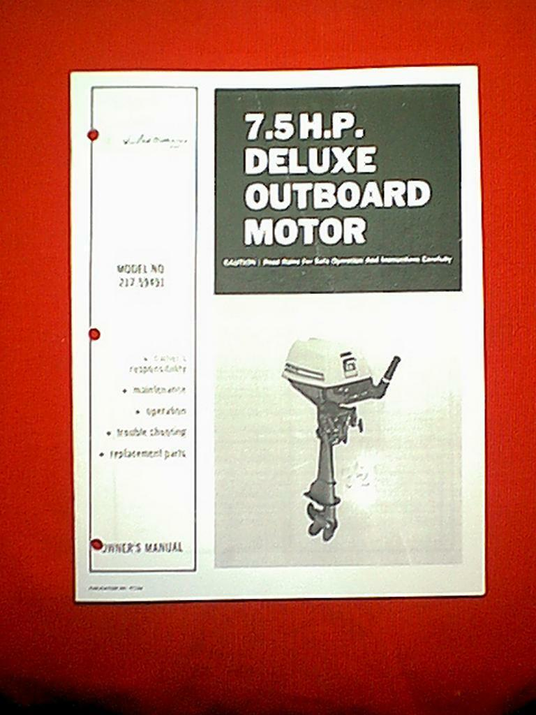 Sears Ted Williams 7.5 Hp Deluxe Outboard Motor 217.59491 Owner's & Parts  Manual 1 of 1Only 1 available See More