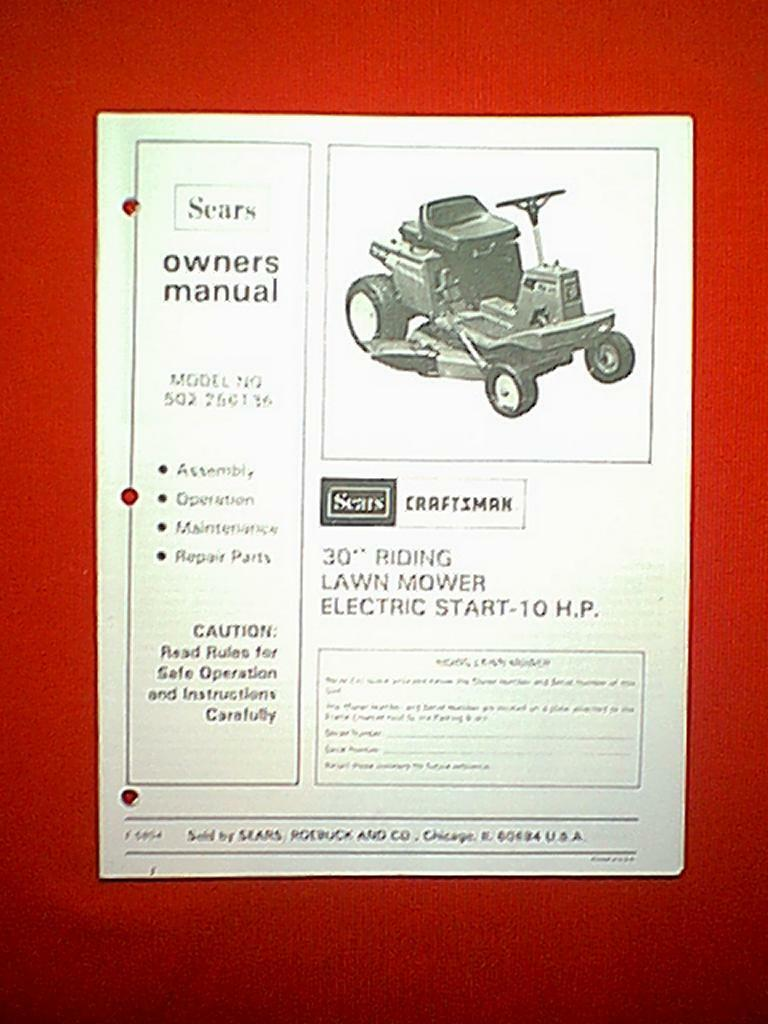 """Sears Craftsman 30"""" Rear Engine Riding Mower Model # 502.256136 Manual 1 of  1Only 1 available See More"""