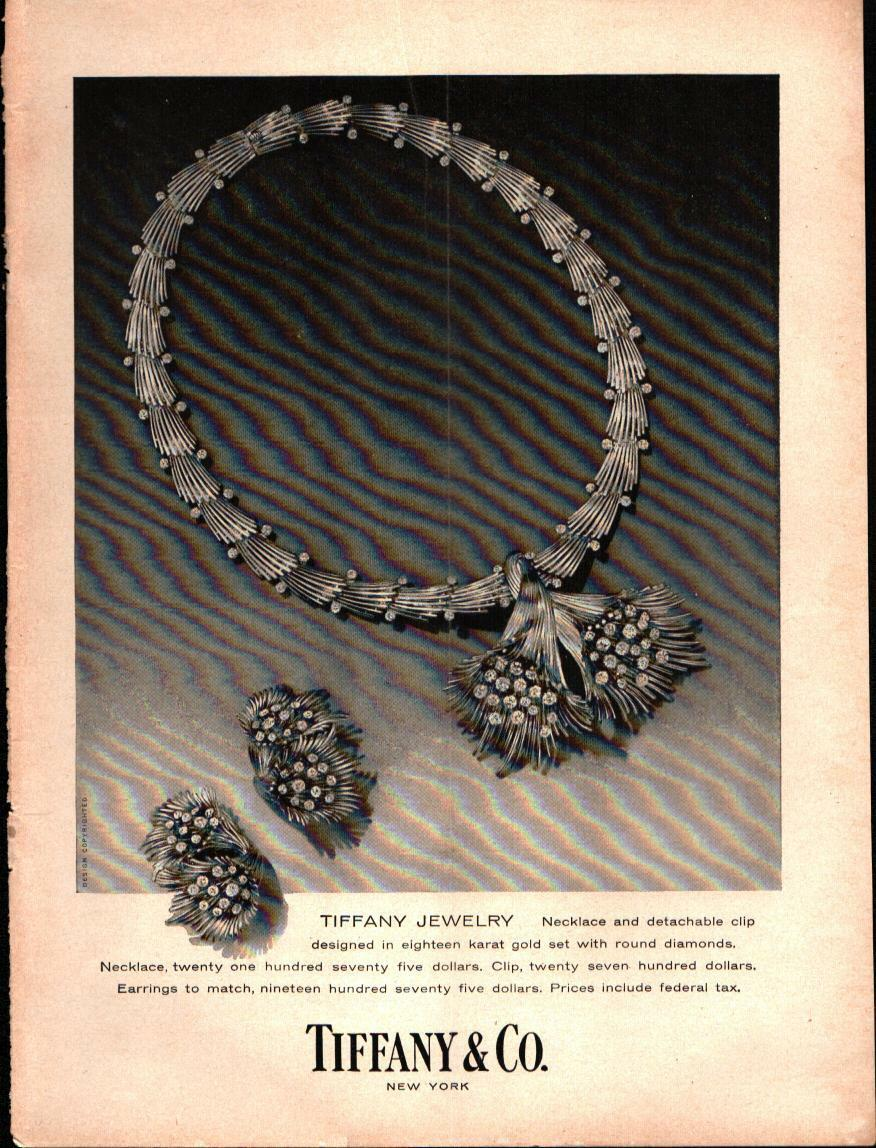 1958 Tiffany Co Jewelry Necklace Ear Rings Vintage Print Ad 869 1 Of 1Only Available