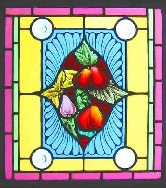 Ornate Beauty Painted Antique English Stained Glass Window